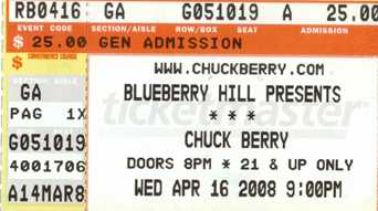 chuck berry ticket stup