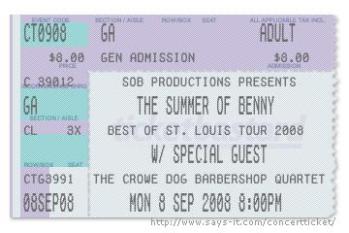 SOB Concert Ticket